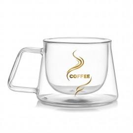 200ML Double Layers Glass Coffee Cup Tea Mug Beer Drink Mug Home Office Mug