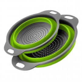 2PCS/SET Round Shape Foldable Silicone Colander Vegetable Strainer Basket
