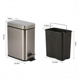 5L Stainless Steel Square Step Trash Can Close Lid Removable Inner Wastebasket Anti-Fingerprint