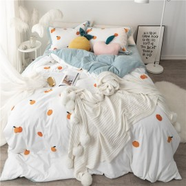 Winter fennel net red four-piece set dinosaur orange ins thickening embroidered quilt set warm bed sheet high-end bedding enlarged four-piece set (quilt set 220*240cm) Daisy