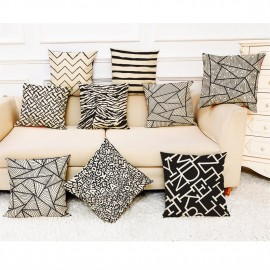 Cross-border special for modern simple geometric home cotton and linen pillow cover car pillow sofa cushion wholesale custom 45*45 super soft P