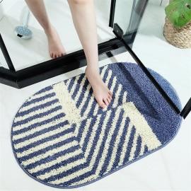 Cross-border modern striped bathroom water-absorbing non-slip mat into the door floor mat bedroom door household oval pad 50*80cm stripe doctrine - green