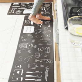 Cross border kitchen leather mat, anti-slip, easy to handle, oil-free, household kitchen, anti-fatigue, environment-friendly, PU leather floor mat, 45*75cm marble