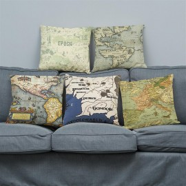 Creative European retro map cotton and linen pillow printed sofa cushion car cushion to figure wholesale custom 45*45 super soft F