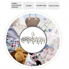 Windproof Stainless Steel Swivel Clothes Hanger Organizer with 35 clips