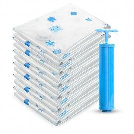 9 pieces of rabbit printed vacuum compression bag are equipped with 8 85x100+ hand pumps (random color of hand pumps)