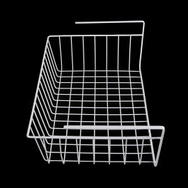 White/Silver Kitchen Under Shelf Storage Basket Lightweight Metal Organiser Rack