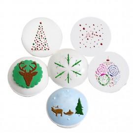 Christmas Bakery Tool DIY Bakery Sugar Sieve Sugar Plate 6pcs Set